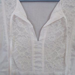 White Peasant Blouse w/Lace Inserts – Size 10